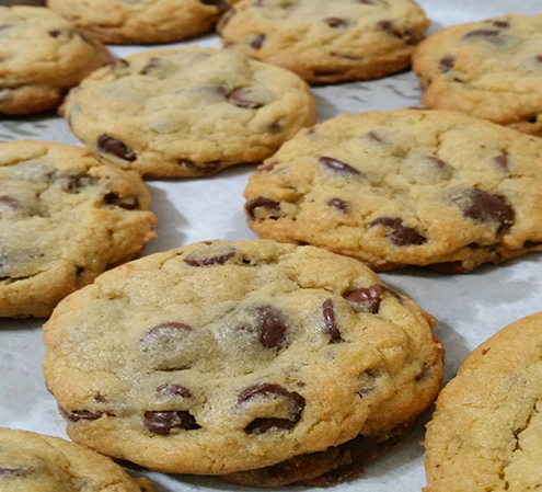 Fresh out of the oven Chocolate Chip Cookies in wax paper