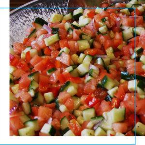 Cucumber, tomato and onion slasa