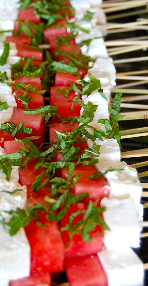 Watermelon and Feta skewer appetizer
