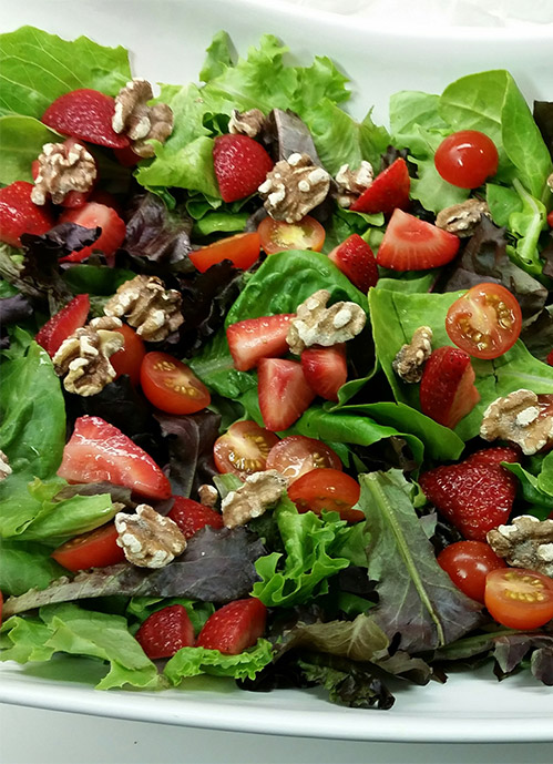 Spinach Salad with Strawberries, Goat Cheese and Toasted Walnuts
