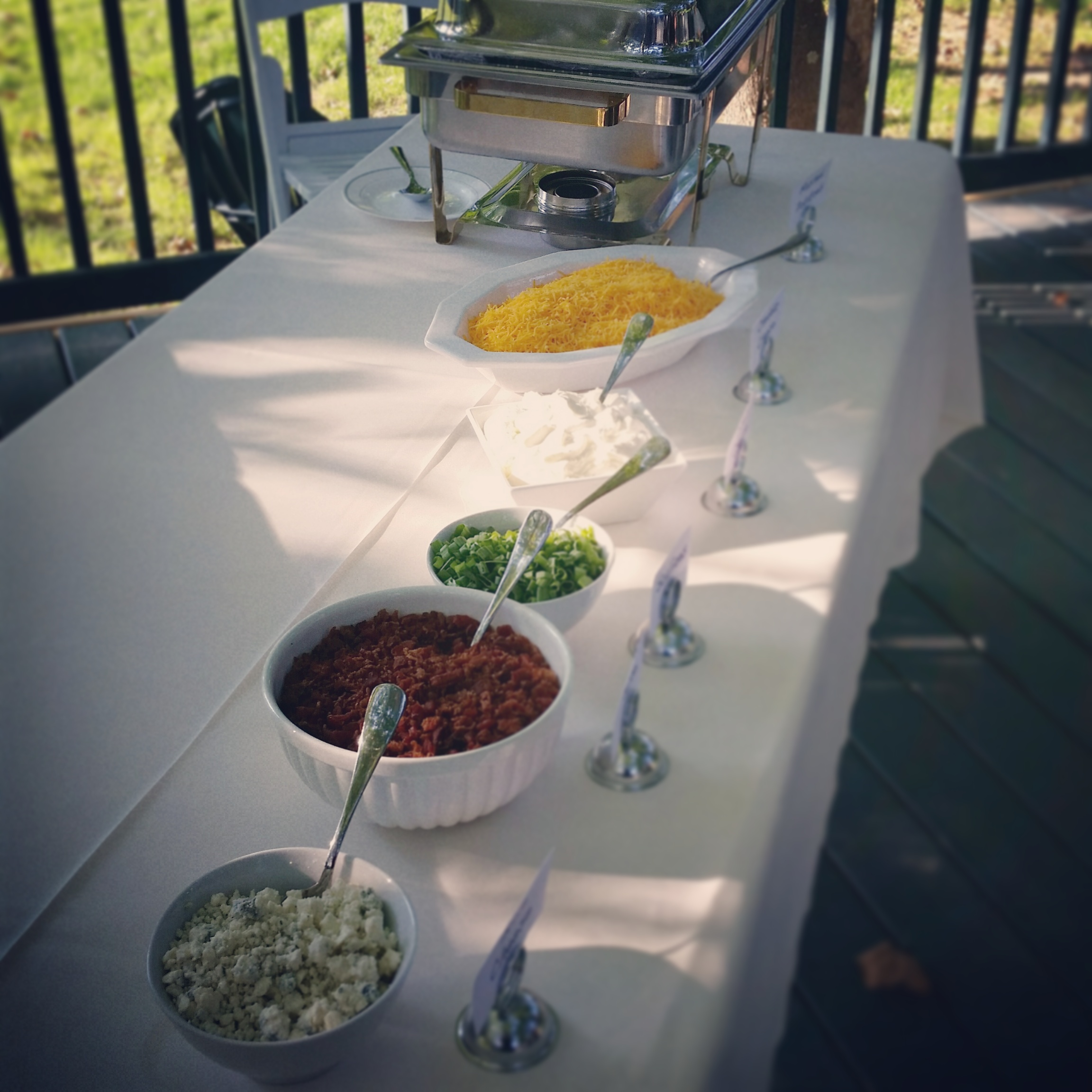Mashed Potato Bar with Sour Cream, Cheddar, Bacon, Blue Cheese, Scallions and Butter toppings